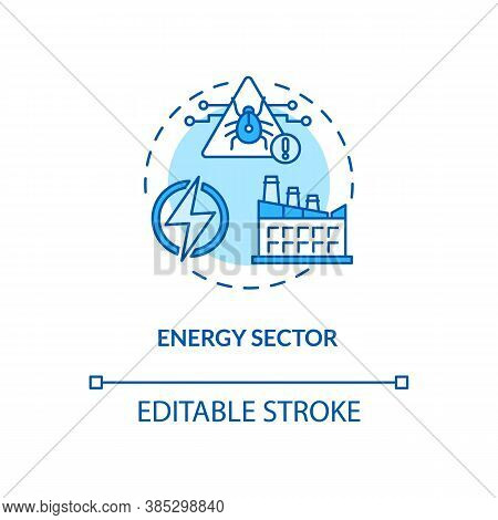 Energy Sector Concept Icon. Critical Infrastructure Protection Idea Thin Line Illustration. Global T
