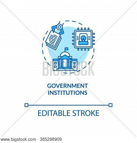 Government Institutions Concept Icon. National Security Infrastructures. Cyber Threats Idea Thin Lin