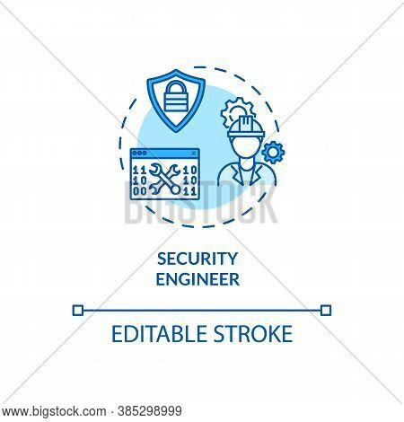Security Engineer Concept Icon. Cybersecurity Job Idea Thin Line Illustration. Sensitive Data Monito