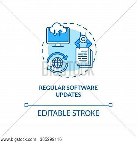 Regular Software Updates Concept Icon. Software Stability Improvement Idea Thin Line Illustration. C