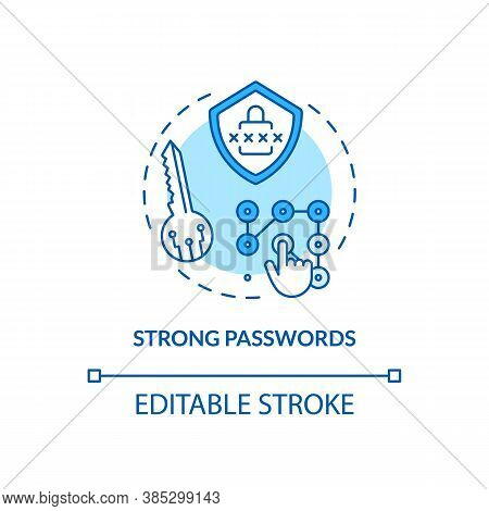 Strong Passwords Concept Icon. Secure Threat Prevention Idea Thin Line Illustration. Hardest Remembe