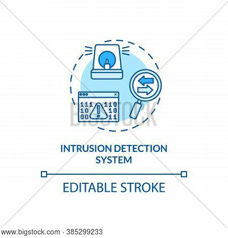 Intrusion Detection System Concept Icon. Network Traffic Monitoring Idea Thin Line Illustration. Ano