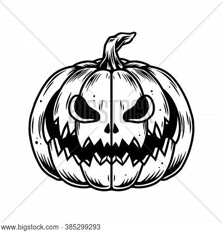 Vintage Concept Of Halloween Pumpkin In Monochrome Style Isolated Vector Illustration