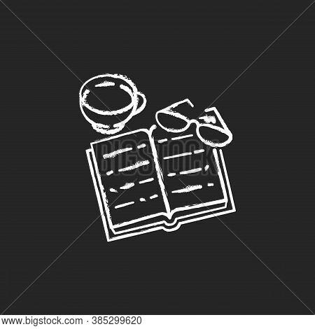 Books Reading Chalk White Icon On Black Background. Indoor Hobby. Education. Book, Glasses, Mug With