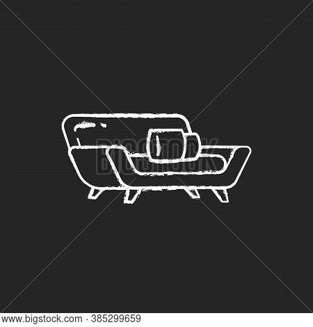 Comfortable Couch Chalk White Icon On Black Background. Contemporary Living Room Furniture. Modern S