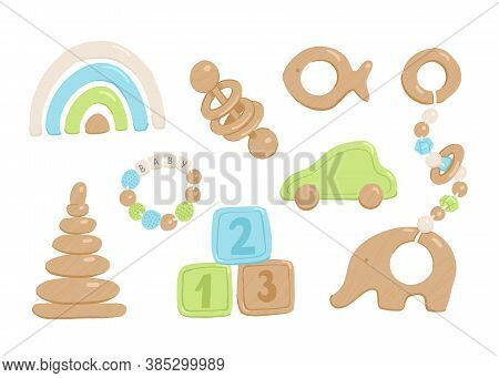 Collection Of Flat Vector Wooden Toys For Babies And Toddlers. Cartoon Simple Style Pastel Colorful