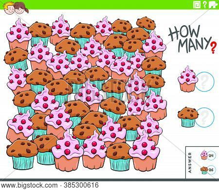 Illustration Of Educational Counting Game For Children With Muffin And Cupcake Sweet Food Objects