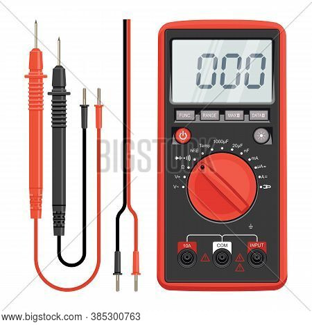 Multimeter Electrical Or Electronics In Red Silicone Shell, With Probes. Electrician Power Tools. Mu