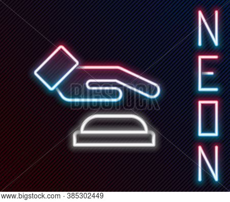 Glowing Neon Line Palm Print Recognition Icon Isolated On Black Background. Biometric Hand Scan. Fin