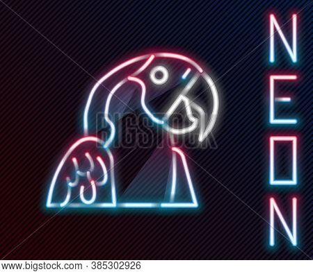Glowing Neon Line Macaw Parrot Bird Animal Icon Isolated On Black Background. Animal Symbol. Colorfu
