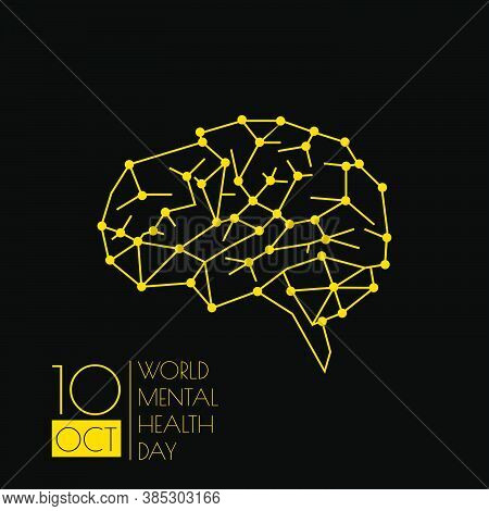World Mental Health Day Design With Line Art Of Brain Vector Illustration. Perfect Template For Worl