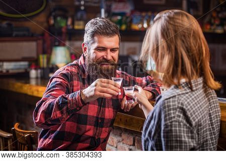 Young People At The Party Drink Alcohol. Woman Alcoholic Beverage In Bar. Young Woman Has Problems W