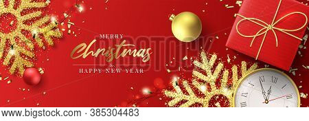 Merry Christmas And Happy New Year Banner. Holiday Background With Realistic Red Gift Box, Sparkling