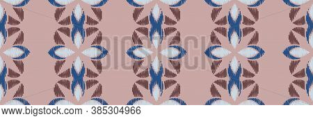 Ikat Colorful Seamless Ornament Pattern. Ethnic Indigo Tite Repeat Background For Textile, Wallpaper