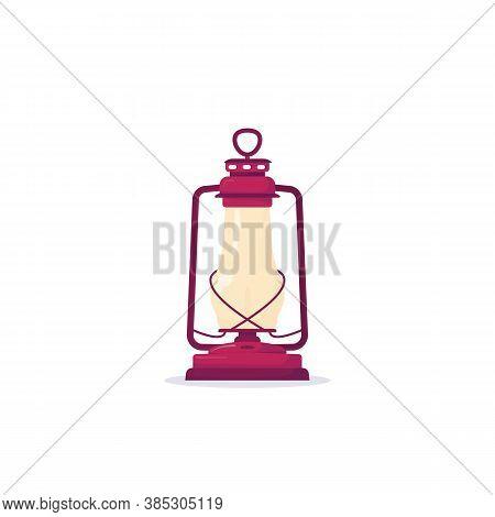 Retro Kerosene Lantern With Fire. Old Metal Rust, Copper Glass Lantern With Fire In It On White Back