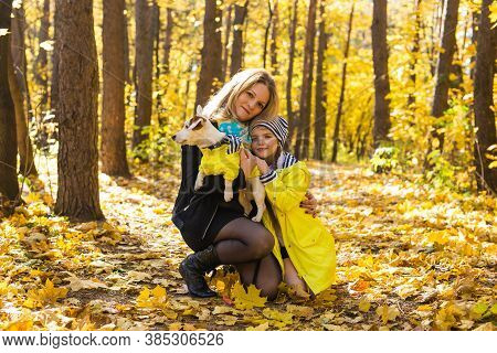 Woman With Her Dog At Autumn Park. Girl Playing With Jack Russell Terrier Outdoors. Pet And People C