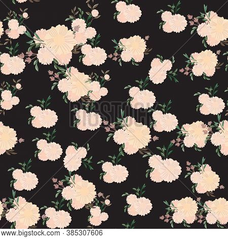 Seamless Floral Pattern. Flowers Texture. Simplicity Flower Surface Pattern Design. Ditsy Print Text