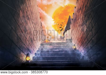 3d Illustration , Halloween Day Concept , Stairway Of Horror Castle With Halloween Pumpkin And Big Y