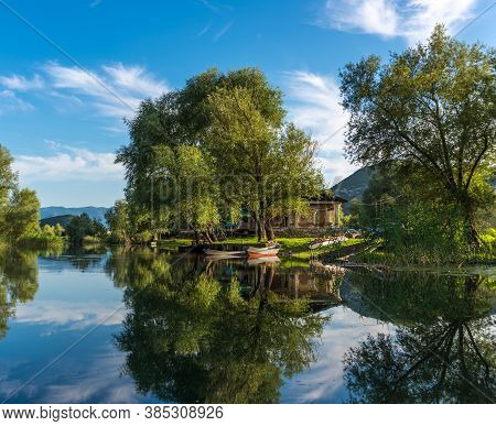 Beautiful River Landscape City Dodoshi With Reflection Of Trees In Water.  Skadar (shkoder) Lake. Mo