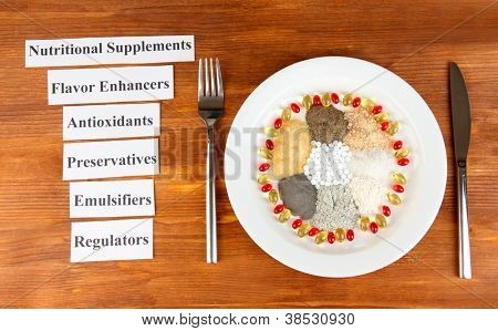 Nutritional supplements on wooden background close-up poster