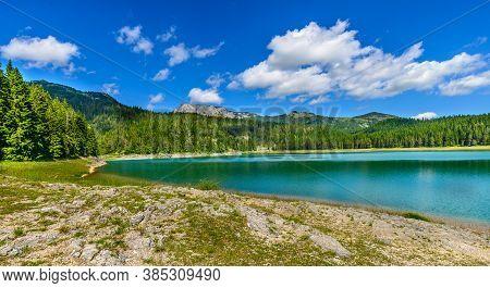 Beautiful Black Lake Panorama. Durmitor, Montenegro, Europe.