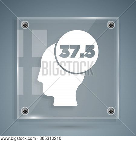 White High Human Body Temperature Or Get Fever Icon Isolated On Grey Background. Disease, Cold, Flu