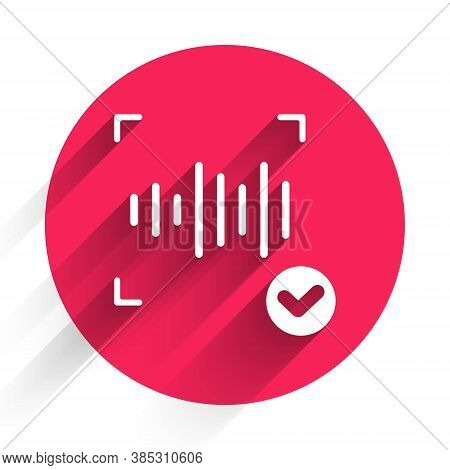 White Voice Recognition Icon Isolated With Long Shadow. Voice Biometric Access Authentication For Pe