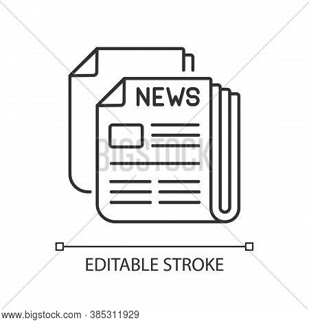 Newspaper Linear Icon. Mass Media, Postal Service, Journalism Thin Line Customizable Illustration. D