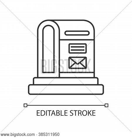 Parcel Post Linear Icon. Public Postal Service Thin Line Customizable Illustration. Mail Transportat