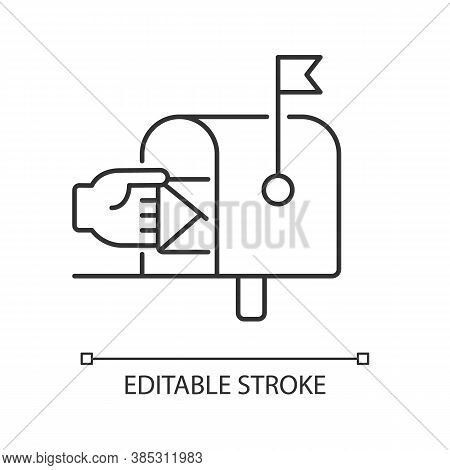 Mailbox Linear Icon. Postal Service, Mail Delivery Thin Line Customizable Illustration. Traditional