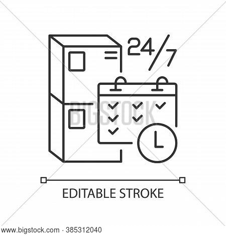 Schedule Package Pickup Linear Icon. Mail Organization, Postal Logistics Thin Line Customizable Illu