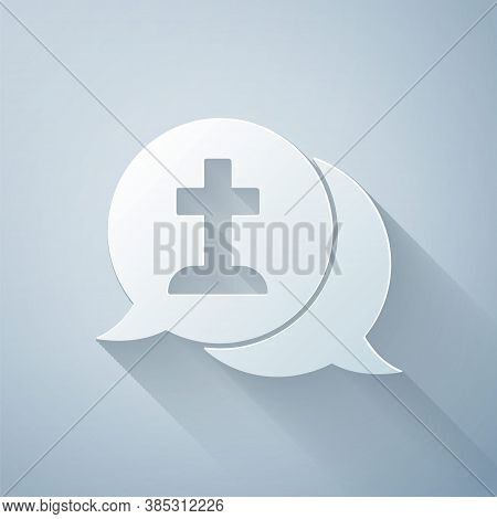 Paper Cut Man Graves Funeral Sorrow Icon Isolated On Grey Background. The Emotion Of Grief, Sadness,
