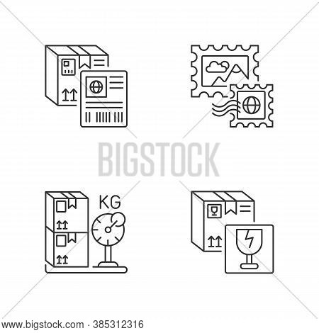 Postal Shipping Linear Icons Set. Shipment Label, Postage Stamps, Cargo Weight And Fragile Items Cus