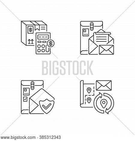 Mail Linear Icons Set. Calculating Cargo Price, Cargo Insurance, Address Change And Postbox Customiz