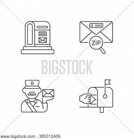 Courier Delivery Linear Icons Set. Professional Mailman, Letter Zip Code, Parcel Post And Mailbox Cu
