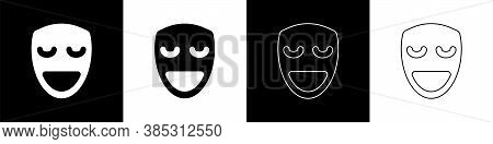 Set Comedy Theatrical Mask Icon Isolated On Black And White Background. Vector