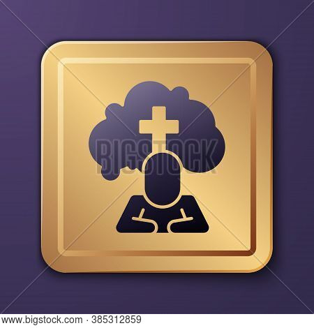 Purple Man Graves Funeral Sorrow Icon Isolated On Purple Background. The Emotion Of Grief, Sadness,