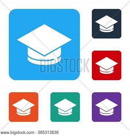 White Graduation Cap Icon Isolated On White Background. Graduation Hat With Tassel Icon. Set Icons I