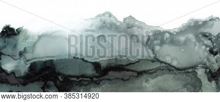 Black and white Abstract painting blots landscape horizontal background. Alcohol ink colors. Marble texture.