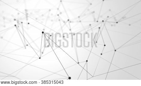 Black Network Mesh Grid Wireframe With Particle Dots Over White Background, Technology Network, Comm