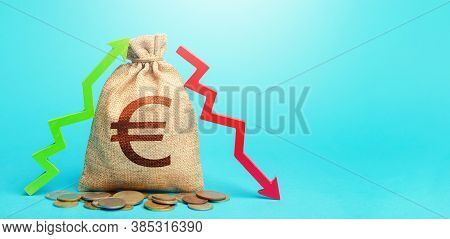 Euro Money Bag And Two Arrows Of Profit Loss. Income Expense Concept. Debit And Credit. Capital Move