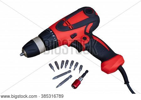 Screwdriver With Bits Isolated, Electric Screwdriver Isolated On White Background With Bits