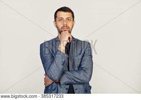 Portrait Of A Young Male Entrepreneur, Looking At The Camera With A Sad Face, A Businessman, Disappo