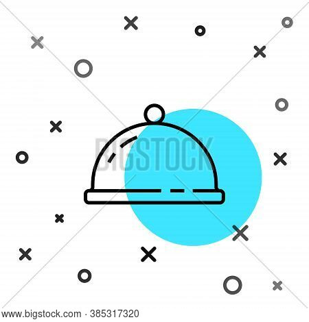 Black Line Covered With A Tray Of Food Icon Isolated On White Background. Tray And Lid Sign. Restaur