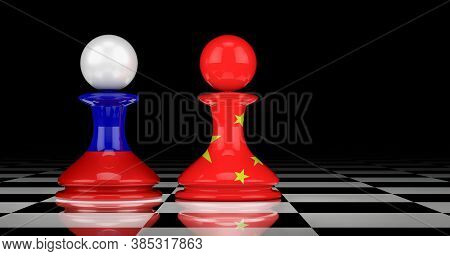 China And Russia Relations Concept. 3d Rendering