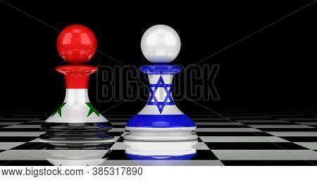 Israel And Syria Confrontation And Relations Concept. 3d Rendering