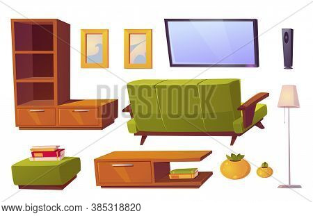 Living Room Interior Set With Green Sofa, Bookshelves And Tv. Vector Cartoon Furniture Collection Fo