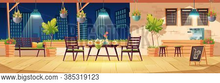 Summer Terrace, Night Outdoor City Cafe, Coffeehouse With Wooden Table, Chairs, Illumination And Pot