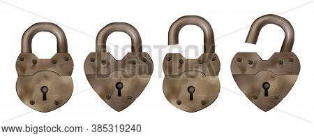 Old Metal Padlocks Isolated On White Background. Symbol Of Safety, Privacy And Security. Vector Real