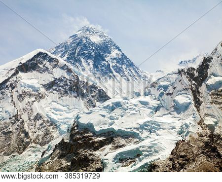Mount Everest, View Of Top With Clouds From Kala Patthar Way To Mount Everest Base Camp, Khumbu Vall